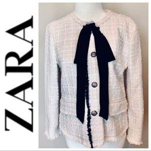 w/TAGs ZARA Woman Tweed Frayed Edges BLAZER Jacket